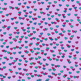 Seamless pattern with tiny colourful hearts. Abstract repeating. Stock Images