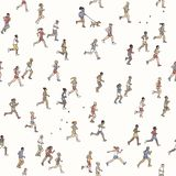 Seamless pattern of tiny marathon runners. A diverse collection of small hand drawn men and women running from left to right Stock Images