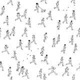 Seamless pattern of tiny marathon runners. Miniature marathon runners: a diverse collection of small hand drawn men and women running from left to right Royalty Free Stock Photography