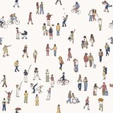 Seamless pattern of tiny pedestrians Royalty Free Stock Photos