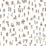 Seamless pattern of tiny pedestrians Stock Images