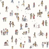 Seamless pattern of tiny pedestrians Royalty Free Stock Photo