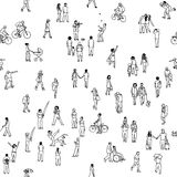 Seamless pattern of tiny people Stock Photo