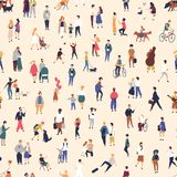 Seamless pattern with tiny people walking on street. Backdrop with men, women and children performing outdoor activity royalty free illustration
