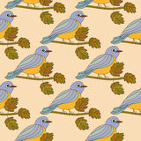 Seamless pattern with the tit on a branch. Royalty Free Stock Images