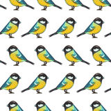Seamless pattern with titmouse Stock Photos