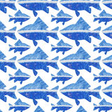 Seamless pattern to any surface with blue marine fish. In Gzhel style Stock Photography