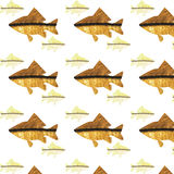 Seamless pattern to any surface with gold marine fish. In Gzhel style Royalty Free Stock Photography