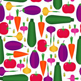 Seamless pattern with tomato, eggplant, carrot, onion, zucchini, paprika, olive Stock Photos