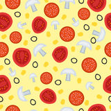 Seamless pattern with tomato, salami and mushrooms Royalty Free Stock Photos