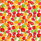 Seamless pattern with tomatoes and bell peppers. Royalty Free Stock Photography