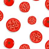 Tomato Slices Seamless Pattern Background Stock Photos