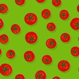Green seamless pattern with tomatoes. Seamless Pattern with tomatoes, on green background. vector illustration Stock Photography