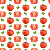 Seamless pattern with tomatoes and parsley Royalty Free Stock Photography