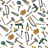 Seamless Pattern With Tools. Hand Drawn Seamless Pattern With Tools Stock Image
