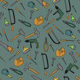 Seamless Pattern With Tools. Hand Drawn Seamless Pattern With Tools Stock Photo
