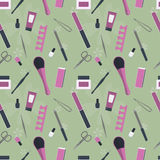 Seamless pattern of tools for manicure and pedicure Stock Photography