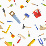 Seamless pattern with tools for repair. Vector illustration in flat style on white background Stock Images
