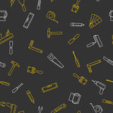 Seamless pattern with tools for repair. Vector illustration in liner style on dark background Stock Photo