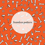 Seamless pattern with tools for repair. Vector illustration. Roller, brush, paint, pencil, tool, hammer, tape measure, putty knife. Seamless pattern orange color Royalty Free Stock Photos