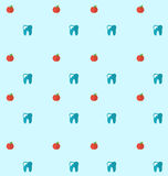 Seamless Pattern with Tooth and Apples, Health Care Background Royalty Free Stock Images