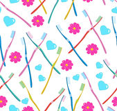 Seamless pattern with tooth-brushes Stock Photos