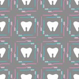 Seamless pattern of tooth brushes and teeth stock illustration