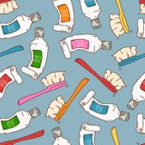 Seamless pattern with tooth paste and brushes Royalty Free Stock Photos