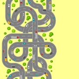 Seamless pattern top view of roads. Crossroads and junctions with cars in countryside Royalty Free Stock Images
