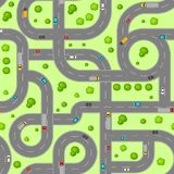 Seamless pattern top view of roads. Crossroads and junctions with cars in countryside Royalty Free Stock Photos