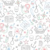 Seamless pattern of the topic of piracy and sea travel outline icons, icons drawn with colored marker on white background. Seamless illustration of the topic of Stock Image