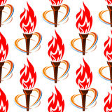 Seamless pattern with torch fire. For sports design Stock Photography