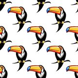 Seamless pattern of a toucan with a big bill Royalty Free Stock Images