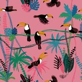 Seamless pattern With Toucan Birds In The Jungle royalty free stock photography