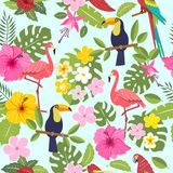 Set of tropical flowers of leaves and birds. Seamless pattern with toucan, flamingo, tropical leaves and flowers on background Royalty Free Stock Images