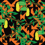 Seamless pattern with toucans and ethnic ornament. Hand drawn vector Stock Image