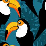 Seamless pattern with toucans and monstera leaves royalty free illustration