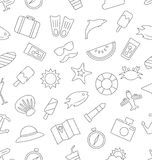Seamless Pattern with Tourism and Holiday Objects and Icons Stock Images