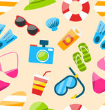 Seamless Pattern with Tourism Objects Stock Photography