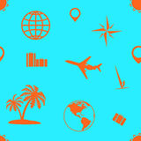Seamless pattern of tourism and recreation. Stock Photography