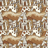 Seamless pattern-town. Seamless pattern  -  square of a small town Stock Photo