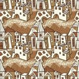 Seamless pattern-town Stock Photo
