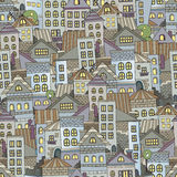 Seamless pattern town houses Stock Photos