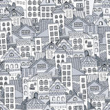 Seamless pattern town houses. Vector illustration Stock Photography