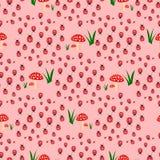 Seamless pattern with toxic amanita mushrooms and ladybugs. Fly-agaric background. stock illustration