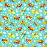 Seamless pattern with toy airplanes Royalty Free Stock Images