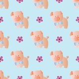Seamless pattern with toy baby pig Royalty Free Stock Image