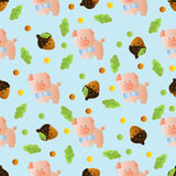 Seamless pattern with toy baby pig Stock Photos