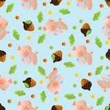 Seamless pattern with toy baby pig Royalty Free Stock Photos