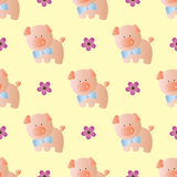Seamless pattern with toy baby pig Stock Photo